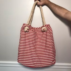 Talbots Rope Handle Striped Canvas Beach Tote